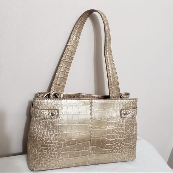 🌸 Tommy Hilfiger Gold Croc Embossed Shoulder Bag